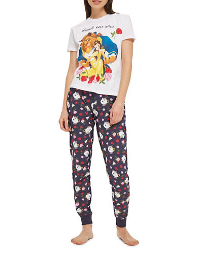 Topshop Beauty and the Beast Pyjama Set-NAVY BLUE-UK 10/US 6