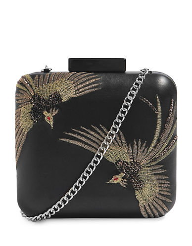 Topshop Embroidered Leather Clutch-BLACK-One Size