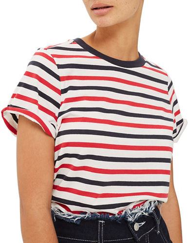 Topshop PETITE Stripe Tee-RED-UK 4/US 0