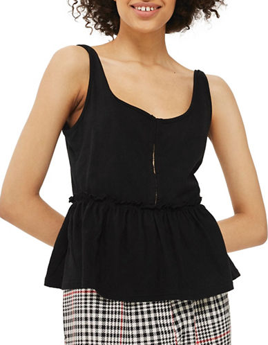 Topshop PETITE Hook and Eye Peplum Top-BLACK-UK 6/US 2