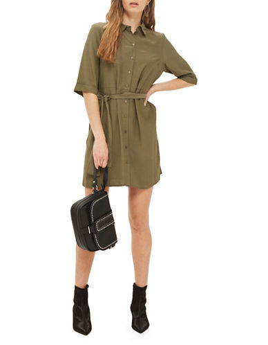 Topshop PETITE Belted Shirtdress-KHAKI-UK 14/US 10