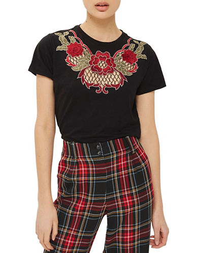 Topshop Net Rose Applique T-Shirt-BLACK-UK 16/US 12