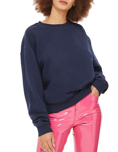 Topshop Oversized Soft Sweatshirt-NAVY-UK 6/US 2