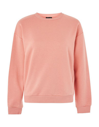 Topshop Oversized Sweatshirt-CORAL-UK 12/US 8