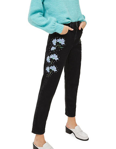 Topshop MOTO Floral Print Embroidered Mom Jeans 30-Inch Leg-BLACK-32X30