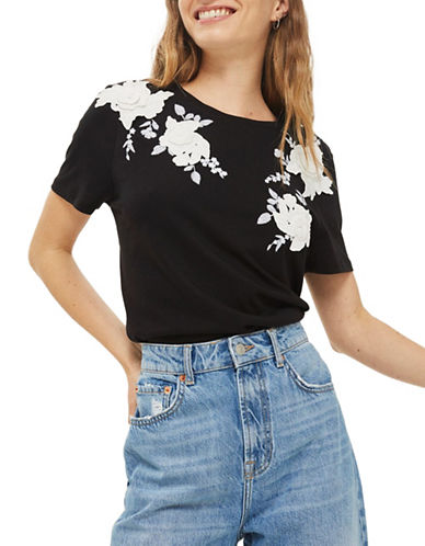 Topshop 3D Applique T-Shirt-MONOCHROME-UK 6/US 2