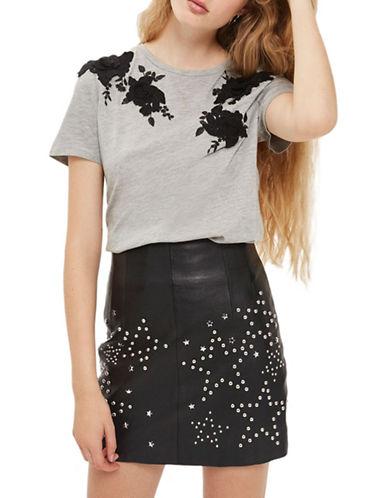 Topshop 3D Floral Applique T-Shirt-GREY MARL-UK 8/US 4
