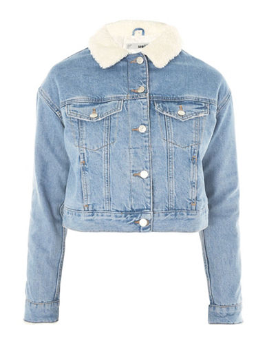 Topshop MOTO Cropped Denim Borg Jacket-MID DENIM-UK 8/US 4