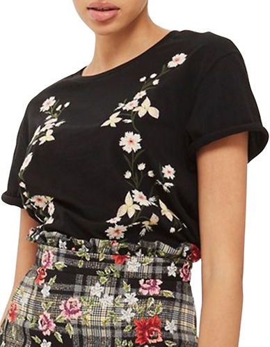 Topshop TALL Floral Embroidery T-Shirt-BLACK-UK 10/US 6