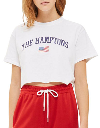 Topshop The Hamptons Slogan Crop Tee-WHITE-Large