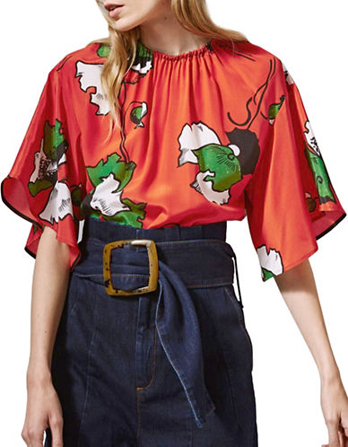 Topshop Silk Poppy Blouse-RED-UK 6/US 2