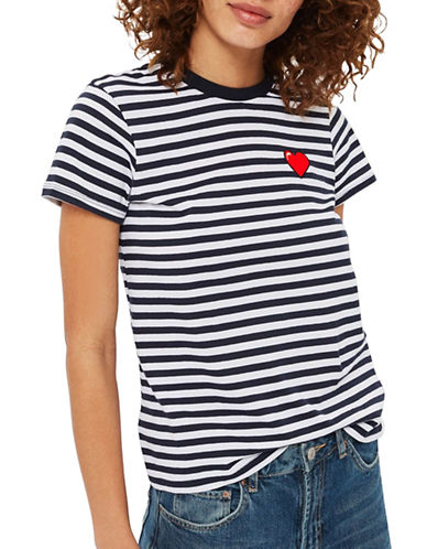 Topshop PETITE Stripe Heart Embroidered T-Shirt-MULTI-UK 10/US 6