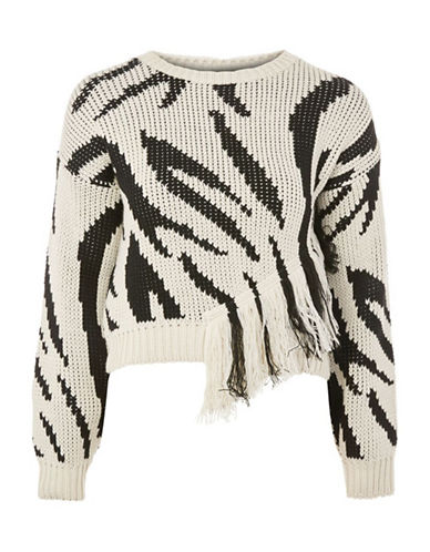 Topshop Zebra Print Fringe Sweater-MONOCHROME-UK 8/US 4