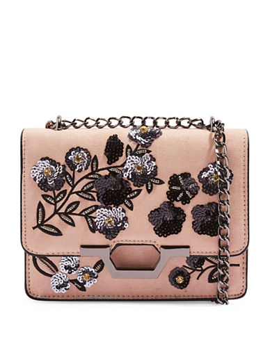 Topshop Kylie Sequin Suedette Crossbody Bag-PINK-One Size