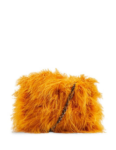 Topshop Riga Marabou Crossbody Bag-YELLOW-One Size