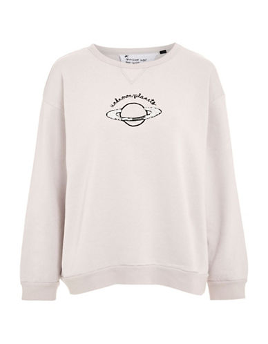 Topshop Unknown Planets Boxy Sweatshirt by Tee and Cake-PINK-UK 10/US 6