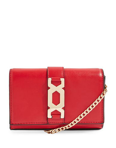 Topshop Rome Hex Hardware Crossbody Bag-RED-One Size