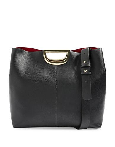 Topshop Sim Metal Handle Shopper Bag-BLACK-One Size
