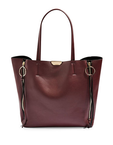 Topshop O-Ring Side Zip Shopper Bag-BURGUNDY-One Size