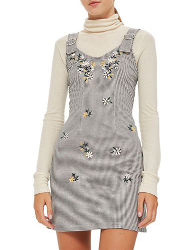 Topshop Gingham Embroidered Pinafore Dress-BLACK-UK 8/US 4