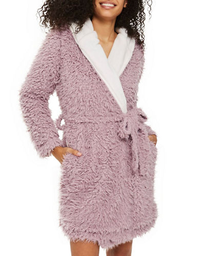 Topshop Shaggy Faux Fur Robe-MINK-Medium
