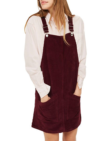 Topshop TALL MOTO Cord Pocket Pinafore Dress-BURGUNDY-UK 12/US 8