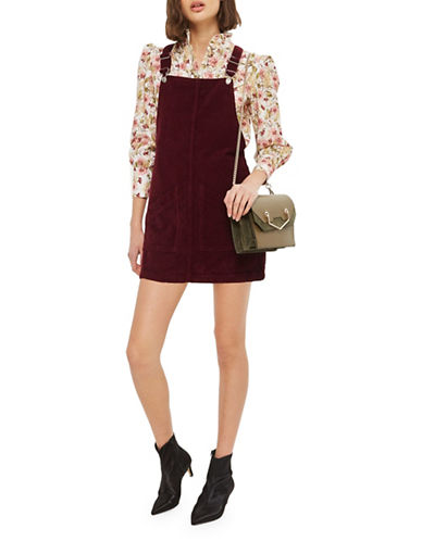 Topshop PETITE Cord Pocket Pinafore Dress-BURGUNDY-UK 4/US 0