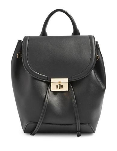 Topshop Mini Lock Backpack-BLACK-One Size