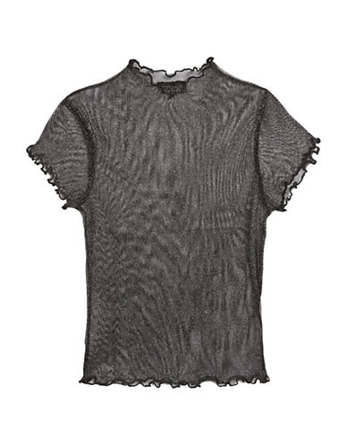 Topshop Lettuce-Sleeved Metallic Tee-BLACK-UK 12/US 8