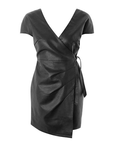 Topshop Faux Leather Wrap Mini Dress-BLACK-UK 6/US 2