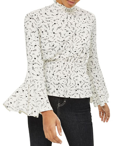 Topshop Star Print High Neck Top-MONOCHROME-UK 6/US 2