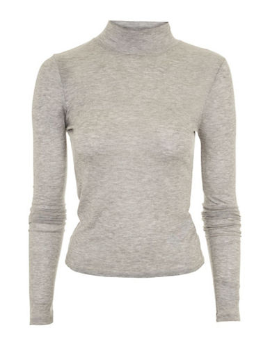 Topshop Fine Knit Top-GREY MARL-UK 10/US 6