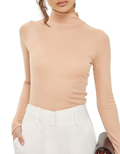 Topshop Fine Knit Top-NUDE-UK 12/US 8