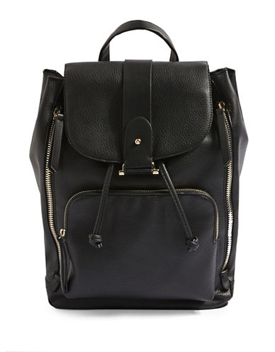 Topshop Bobby Large Backpack-BLACK-One Size