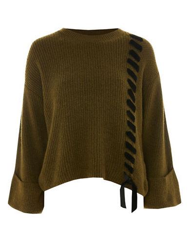 Topshop Velvet Ribbon Sweater-KHAKI-UK 8/US 4