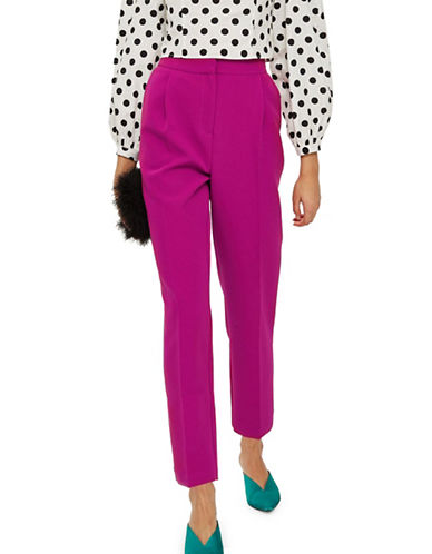 Topshop Split Hem Cropped Trousers-BRIGHT PINK-UK 6/US 2