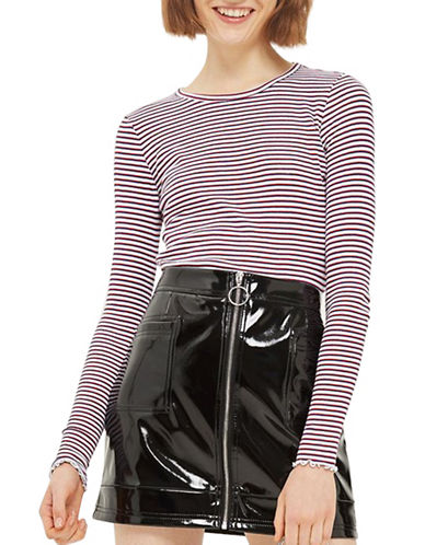 Topshop TALL Lettuce Stripe Top-MONOCHROME-UK 16/US 12