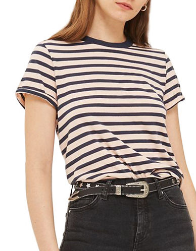 Topshop Stripe Roll Back T-Shirt-NUDE-UK 16/US 12