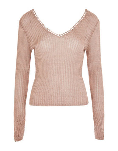 Topshop TALL Metal Yarn Ribbed Top-ROSE GOLD-UK 8/US 4