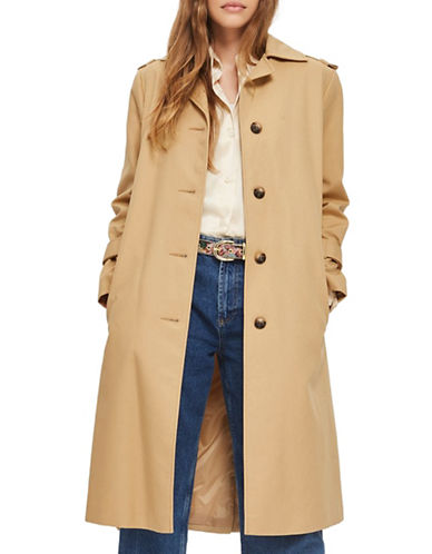 Topshop Power Shoulder Trenchcoat-CAMEL-UK 8/US 4