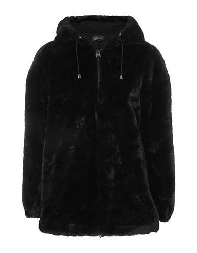 Topshop Faux Fur Hoodie-BLACK-UK 12/US 8