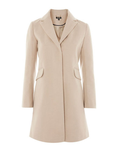 Topshop Amber Overcoat-NUDE-UK 10/US 6