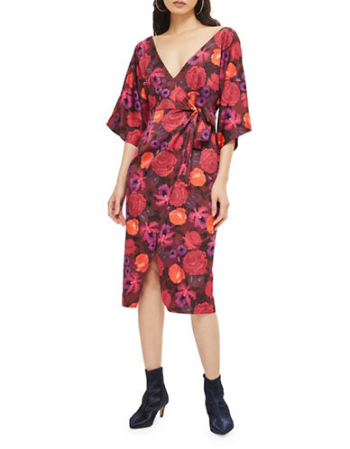 Topshop Floral Wrap Dress-BURGUNDY-UK 12/US 8