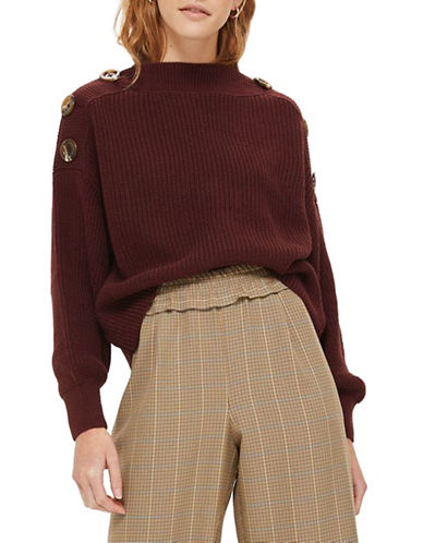 Topshop PETITE Button Slash Sweater-BURGUNDY-UK 8/US 4