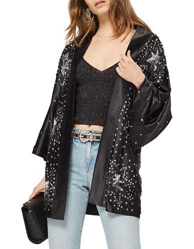 Topshop Star Embroidered Open-Front Jacket-BLACK-UK 10/US 6