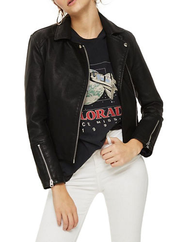 Topshop TALL Daze Faux Leather Biker Jacket-BLACK-UK 12/US 8