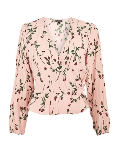Topshop TALL Rose-Printed Wrap Blouse-NUDE-UK 14/US 10