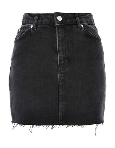 Topshop PETITE High-Waist Denim Skirt-WASHED BLACK-UK 12/US 8