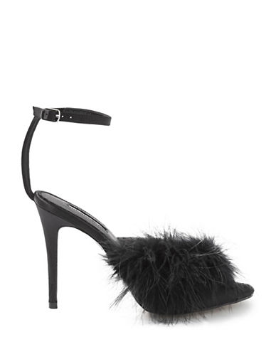 Topshop Ror-Asy Feather Sandals-BLACK-EU 38/US 7.5