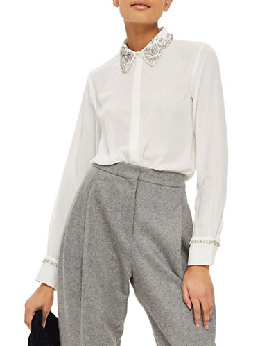 Topshop Embellished Collar Shirt-WHITE-UK 8/US 4